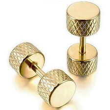 MENDINO Jewelry Men's 316L Stainless Steel Earrings Stud Hoop Mini Dumbbell Gold