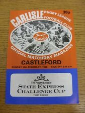 14/02/1982 Carlisle v Castleford [Challenge Cup] Rugby League Official Programme