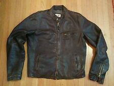 EZRA FITCH LEATHER CAFE RACER MOTORCYCLE JACKET abercrombie XL