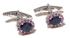 Natural Ruby & Sapphire Gem Stone 925 Sterling Silver Men's Cufflink jewelry