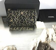 NWT Chanel Black Lamb Gold Camellia SLG O-Case Zip Pouch Wallet Cosmetics Clutch