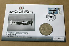 HISTORY OF RAF SUPERMARINE SPITFIRE  2010 COVER + JERSEY R J MITCHELL £5 COIN