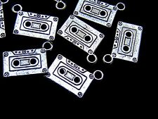 8 Pcs - Tibetan Silver Tape Cassette Charms Music Tape Jewellery 23mm - U150