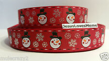 """Grosgrain Ribbon, Snowman & Silver Foil Snowflakes on Red, Christmas, 7/8"""" Wide"""