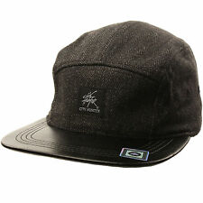 Wool Herringbone 5 Panel Faux Leather Snapback Cadet Cap Hat Adjustable Black