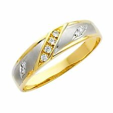 14k Yellow and White 2 Tone Gold Men's Wedding Band Ring