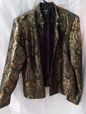 DRESSBARN SHINY BLACK & GOLD EMBROIDERED JACKET BLAZER
