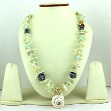 NATURAL SHELL & PEARL GEMSTONE NECKLACE 78 GRAMS