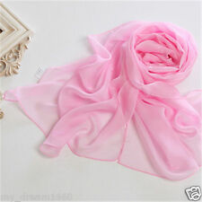 New Women Lady Solid Pink Chiffon Soft Long Neck Scarf Shawl Scarves Stole Wrap