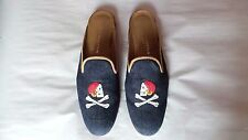 "CUTE Women's $450 Stubbs and Wootton Denim & Leather ""PIRATES"" Mule Slipper Shoe"