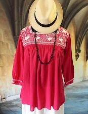 Raspberry & Cream Hand Embroidery Blouse Chiapas Mexico Peasant Hippie Cowgirl