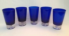 5 Block Stockholm Cobalt Blue Crystal Highball Drinking Glasses Trapped Bubble