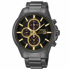 Seiko Mens SSC269 Chronograph Black Dial Gold Accented Stainless Steel Watch