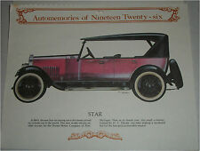 1926 Star Touring car print (red, black top)