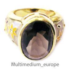 Anillo firmado sigal C ^ a 925 plata dorado esmaltes humo cuarzo piedras de swarovski