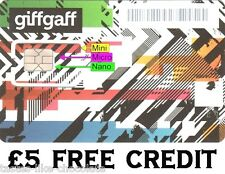 2 x UK 4G sim cards with £5 FREE CREDIT. All in one tripple cut sims o2 giffgaff