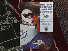 1994 BRANDS HATCH PROGRAMME 24/4/94 - BRITISH F3 - JAN MAGNUSSEN COVER