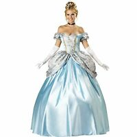 LADIES WOMANS CINDERELLA PRINCESS BALL GOWN FANCY DRESS COSTUME 10 12 14 16