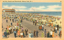 ASBURY PARK NJ BOARDWALK & 3RD AVE BEACH CROWDED LINEN P/C