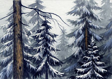 ACEO Original Miniature Watercolor Painting Winter by Elena Mezhibovsky