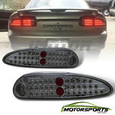 [LED Style] 1993-2002 Chevy Camaro Chrome Smoke Lens Brake Tail Lights Pair