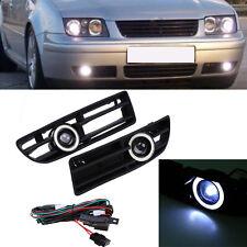 Pair Front Fog Lights Fog Lamps LED Angel Eyes For VW JETTA BORA MK4 A4 99-04