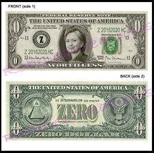 10 LOT-HILLARY CLINTON US MONEY ZERO-Dollar Bill For President Bookmark Novelty