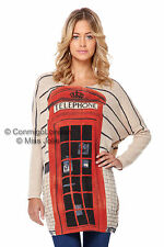 Miss Jolie Telephone Box Print Jumper - Beige - Genuine original design