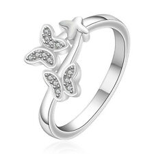 Silver Plated 925 Butterfly Crystal CZ Engagement Statement Ring Size Q / 8 1308