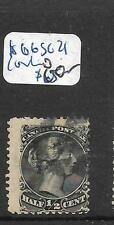 CANADA (P0909B) LARGE QUEEN 1/2C SC 21 CORK CANCEL VFU