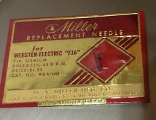 Vintage Miller Replacement  Webster-Electric F-16 Phonograph Needle New Old