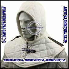 Medieval Renaissance Armor Padded Arming Cap Collar Head Neck Cotton White SCA