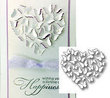 BUTTERFLY HEART die Memory Box dies 98778 Retired metal die-cut wedding insects