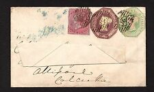 GB-QV-SG54,61 & 62a - 1/,6d & 4d on cover-Croydon to India-21/12/1855-Feb 1860