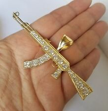 Big real solid 14k yellow Gold AK-47Gun Pendant 3.50 inch wide
