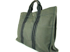 Auth HERMES Fourre Tout MM Gray Canvas Tote Bag HF1009