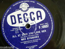 78rpm MAX BYGRAVES all at once you love her / can`t lose the blues with colours