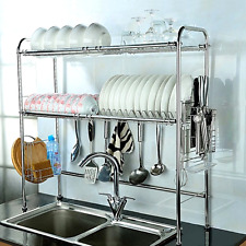 Nex Dish Rack 2-Tier Double Slot Stainless Steel Dry Shelf Kitchen Cutlery Holde