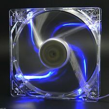 80mm 4 LED Blue Light CPU Cooling Fan Computer PC Clear Case Quad Heatsink Mod
