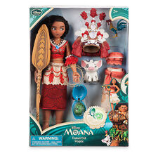 "Disney Store Princess Moana Singing Toy Doll Figure 11"" w/ HeiHei Chicken & Pua"