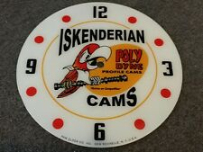 "*NEW*14.25"" ISKENDERIAN POLY DYNE CANS HOT ROD GAS OIL RD GLASS FACE PAM CLOCK"