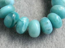 Larimar Dolphin Stone Smooth Polish Rondelle Semi Precious Gemstone Beads 9-10mm