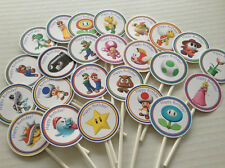 Super Mario Bros Large Round 24 cupcake toppers New style Mario Birthday party