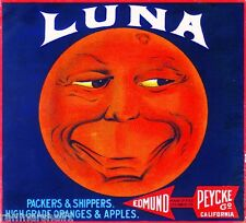 Los Angeles Luna Man in the Moon Orange Citrus Fruit Crate Label Art Print