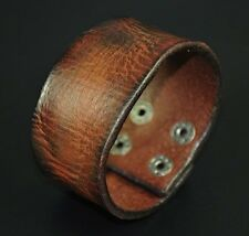 Mens Vintage 3.8cm Wide 3mm Thick Genuine Leather Wrap Bracelet Wristband Cuff