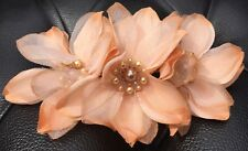 Wedding Goldy Peach Flowers With Pearls Hair Comb handmade