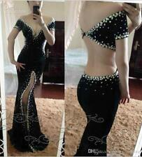 Sexy Mermaid Long Evening Formal Party Crystal Cocktail Prom Gown Wedding Dress