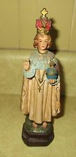 "Vintage Catholic Chalkware Infant of Prague 8"" Figurine Statue"