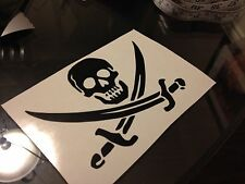 "Skull cross swords vinyl decal sticker 3.5"" pirate jolly roger calico black"