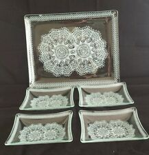 Vintage Glass Tray / Plate and 4 dishes Crudites Hors D'Oeuvres Chip and Dip